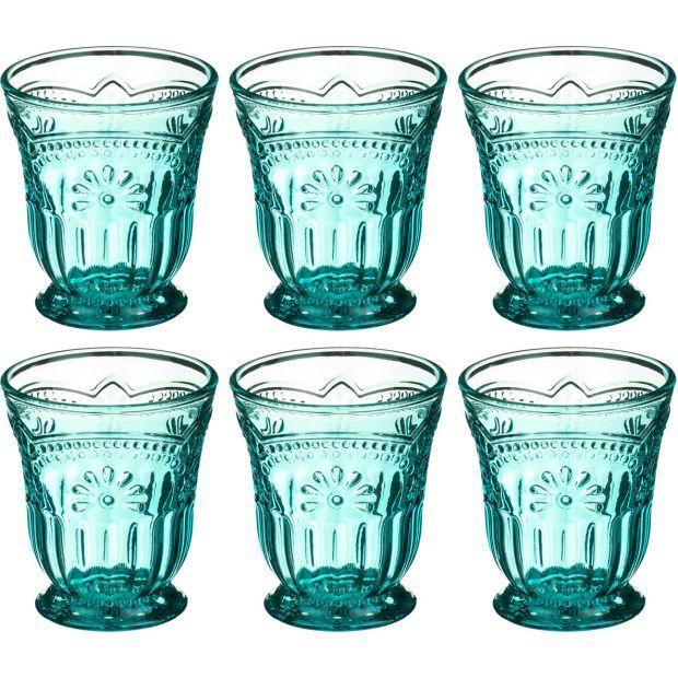 """Набор стаканов для воды из 6 шт.""""туркуаз"""" 250 мл. высота=10 см. (кор=6набор.)-228-044"""