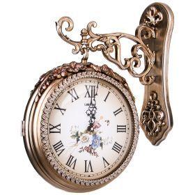 Часы настенные кварцевые с двойным циферблатом 41*13*50 см. диаметр циферблата=25 см.-204-198