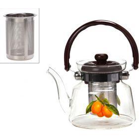 Заварочный чайник agness 800 мл. с фильтром жаропрочное стекло (кор=24шт.)-891-002