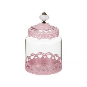 Банка для сыпучих продуктов розовая 12*19 см.