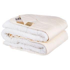 Одеяло меховое  овечья шерсть 142*205 см, верх: cатин-100% хлопок, мех:80% овечья шерсть/20% полиэ