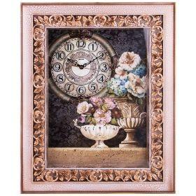 Картина с часами в раме цвет: бронза 62,5*7*50 см. диаметр циферблата=21 см.-204-211