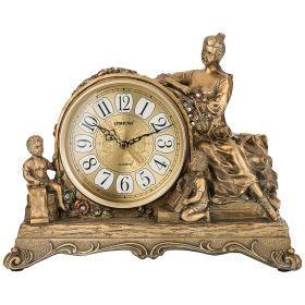Часы настольные кварцевые цвет: бронза  33,5*13*26,5 см (кор=12шт.) циферблат 13 см-204-252