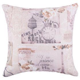 Подушка декоративная 43*43 см, полиэстер 100%,печать цветастые на белом-703-692-06