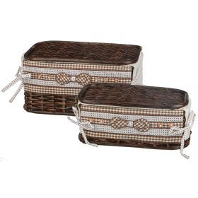 Набор корзин для белья с крышкой и чехлом из 2 шт.17*32*20/27*11*16 см.