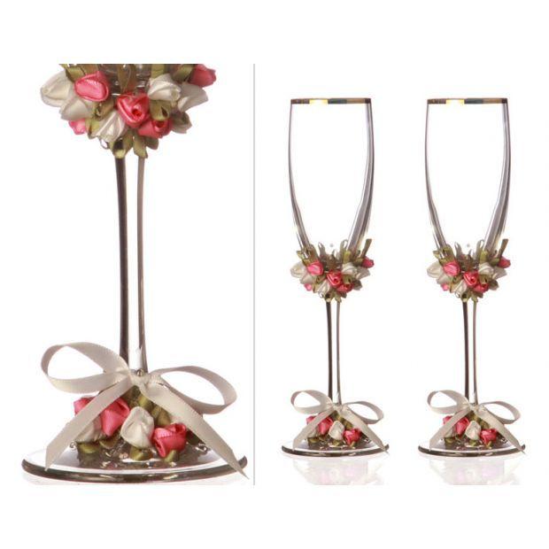 Набор бокалов для шампанского из 2 шт. с золотой каймой 170 мл.-802-510100