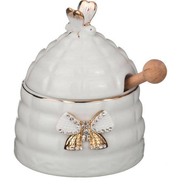 Банка для мёда+палочка деревянная высота=12 см.-55-2521