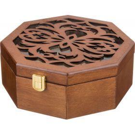 Шкатулка для украшений коричневая 20,5*20*8 см.-255-112