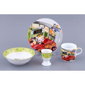 Наборы посуды на 1 персону 4пр.машинки:миска,тарелка,кружка 200 мл.,подставка под яйцо