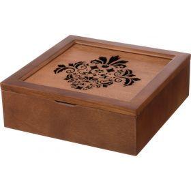 Шкатулка для чая коричневая с 9-ю секциями 24*24*8,2 см.-255-111