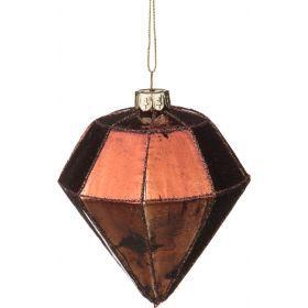 Декоративное изделие шар стеклянный 8*10 см. цвет: коричневый-862-073