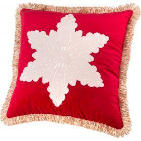 Подушка декоративная 46*46 см, снежинка п/э 100%, брусничный