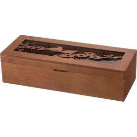 Шкатулка с 4-мя секциями коричневая 31*21*8 см.-255-106