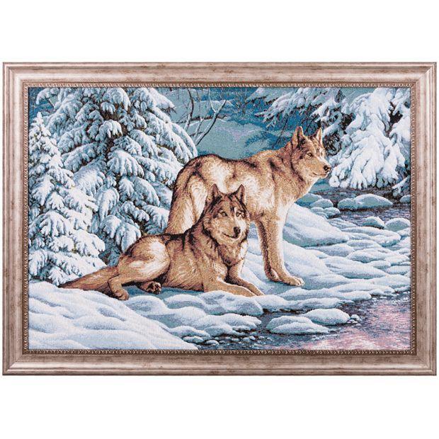"""Гобеленовая картина """"серые волки"""" 82х62 см-404-799-84"""