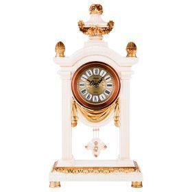 Часы настольные кварцевые с маятником цвет: белые с золотом 26,5*11,5*50,5 см. диаметр=11 см. (кор=6-204-226