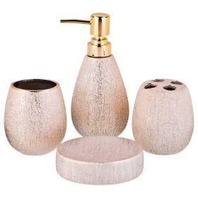 Набор для ванной комнаты 4 пр.:дозатор для мыла, мыльница, стакан для зубных щеток , стакан (кор=12к-755-204