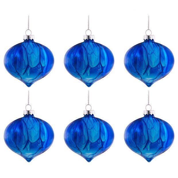 """Набор из 6-ти декоративных изделий коллекция мрамор""""шар"""" диаметр=8 см,высота=9 см цвет: кобальт-864-127"""