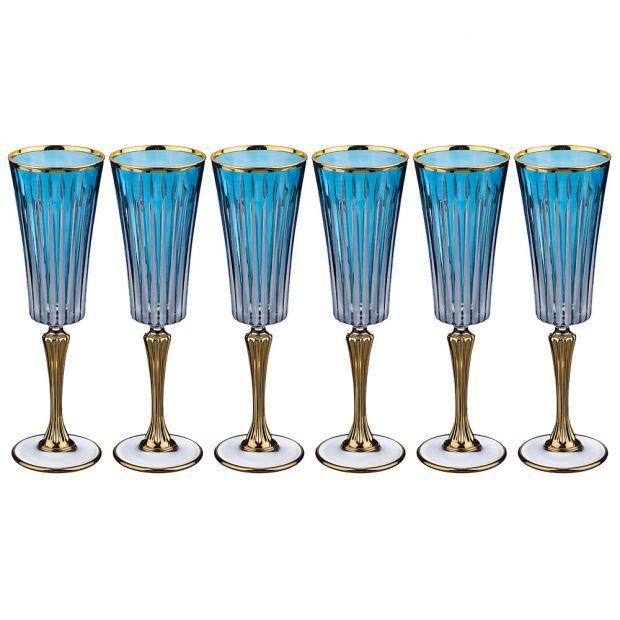 Набор бокалов для шампанского из 6 шт. 180 мл. высота=24 см.-103-539