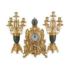 Набор:часы+2 подсвечника  циферблата=10 см.-292-018