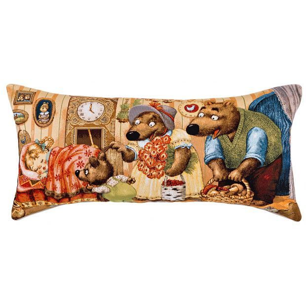 """Подушка 35х68 """"маша и медведи"""" , гобелен, бежевый,100% хлопок-850-901-72"""