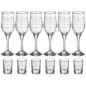 Набор на 6 персон 12 пр.:6 стопок для водки 50 мл.+6 бокалов для вина 200 мл.-381-437