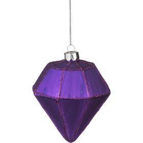 Декоративное изделие шар стеклянный 8*10 см. цвет: фиолетовый-862-078