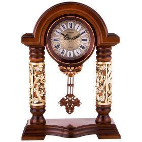 Часы настольные кварцевые с маятником цвет: коричневый с золотом 27*12,5*36,5 см. диаметр циферблата-204-189