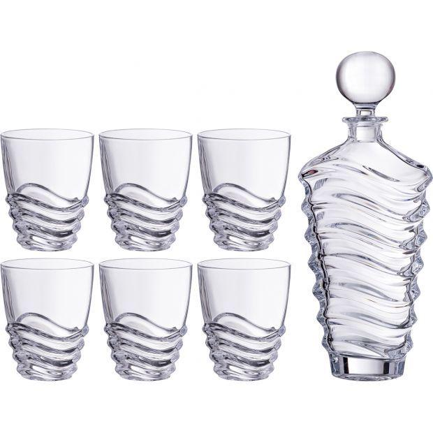 "Набор для виски ""волна"" 7пр.: штоф+6 стаканов 750/300 мл. высота=25/11 см.-669-219"