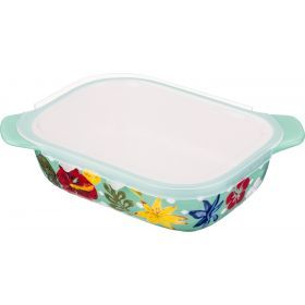 Блюдо для запекания с пластиковой крышкой 22*17 см. высота=7 см.-536-208