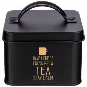 Банка для чайных пакетиков 12,5*12,5*7 см без упаковки (кор=24шт.)-790-169