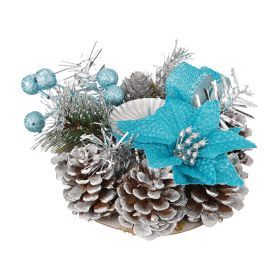 Подсвечник с голубым цветком на 1 свечу диаметр=15 см.-160-173