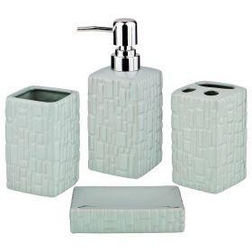Набор для ванной комнаты 4 пр.:дозатор для мыла, мыльница, стакан для зубных щеток , стакан (кор=12к-755-215