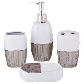 Набор для ванной комнаты 4 пр.:дозатор для мыла, мыльница, стакан для зубных щеток , стакан (кор=12к-755-203