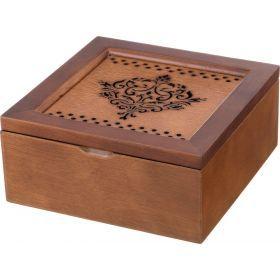Шкатулка для чая коричневая с 4-мя секциями 18*18*8,2 см.-255-109