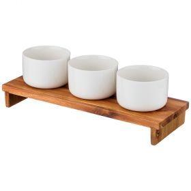 Набор соусников из 3 шт. 8,5*8,5*6 220 мл. на деревянной подставке (кор=24набор.)-235-102