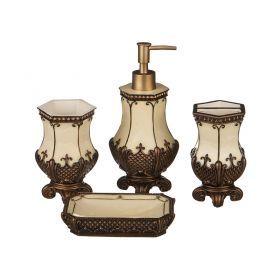 Набор для ванной комнаты 4 пр.:дозатор+подставка для мыла, подставка для зубных щеток,стакан (кор=6н-765-507