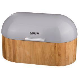 Хлебница деревянная с металлической крышкой, 34*20*19 см-938-015