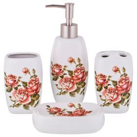 Набор для ванной комнаты 4 пр.:дозатор для мыла, мыльница, стакан для зубных щеток , стакан (кор=12к-755-200