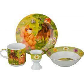 Наборы посуды на 1 персону 4пр.:миска,тарелка,кружка 200 мл.,подставка под яйцо-87-105