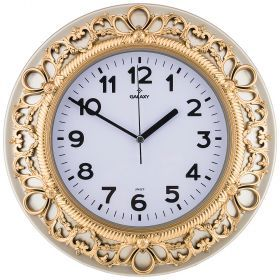 Часы настенные кварцевые  диаметр 32,8 см диаметр циферблата 20,5 см (кор=20шт.)-207-346