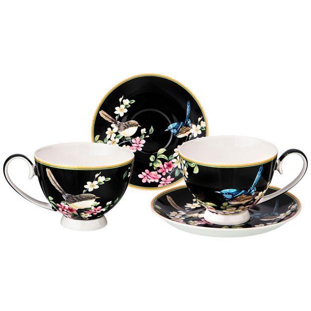 """Чайный набор на 2пер. """"цветущий сад"""" 4 пр. 300мл черный (кор=12наб.)-104-550"""