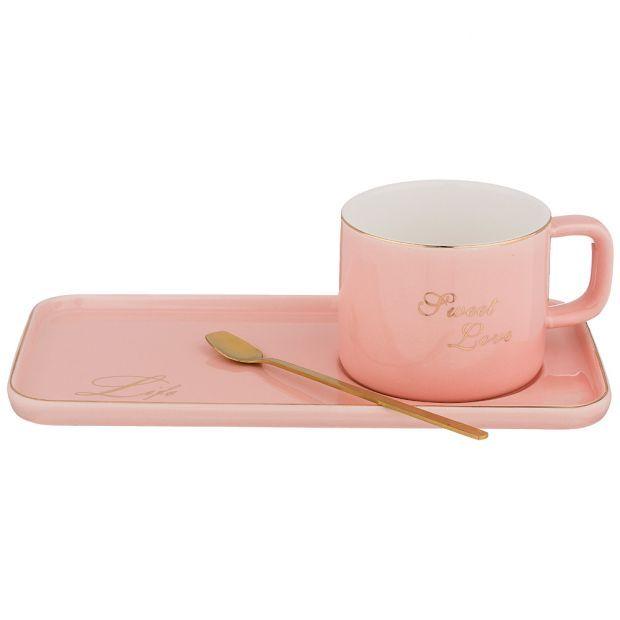 """Чайный набор """"break time"""" на 1пер. 3пр. 200мл, розовый (кор=36наб.)-90-1007"""