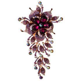 Брошь шикарная большая с фиолетовым цветком и камн-628-1
