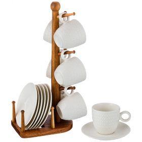 Кофейный набор на 6 персон 12 пр. на деревянной подставке объем чашки= 100 мл-235-111