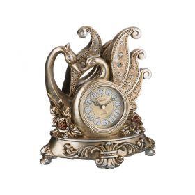 Часы настольные кварцевые два лебедя цвет:бронза 23,5*18*26,5 см. диаметр циферблата=8 см.