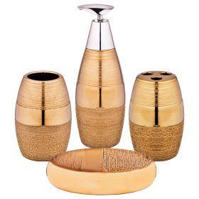 Набор для ванной комнаты 4 пр.:дозатор для мыла, мыльница, стакан для зубных щеток , стакан (кор=12к-755-202