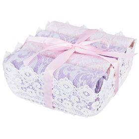 Комплект из 4-х салфеток 40*40 см. в корзинке, х/б 100%, лиловый\розовый-850-840-38