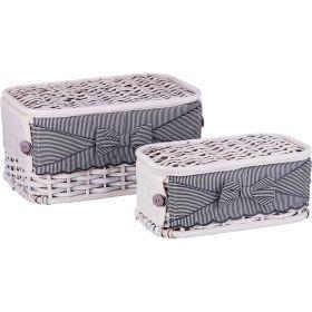 Набор корзин для белья с крышкой и чехлом из 2 шт.17*33*20/11*28*15 см. без упаковки-131-240