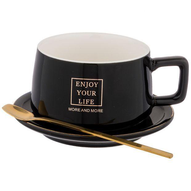"""Чайный набор """"break time"""" на 1пер.  3пр. 250мл, черный (кор=64шт.)-90-1024"""