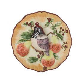 Тарелка декоративная птичка с хохолком на ветке диаметр=20 см. высота=4,5 см.